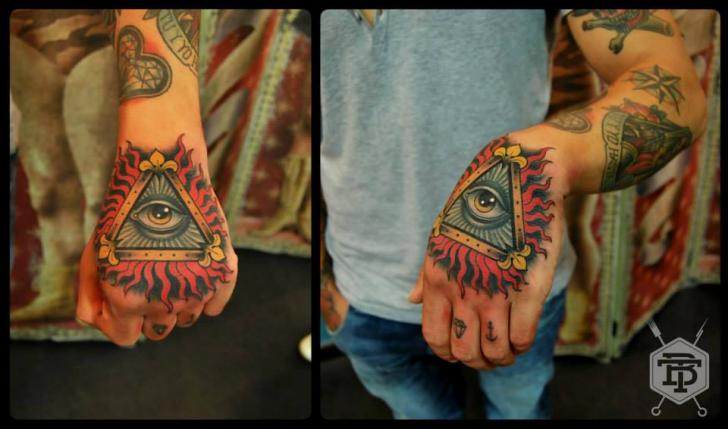 Hand Eye God Triangle Tattoo by Blessed Tattoo