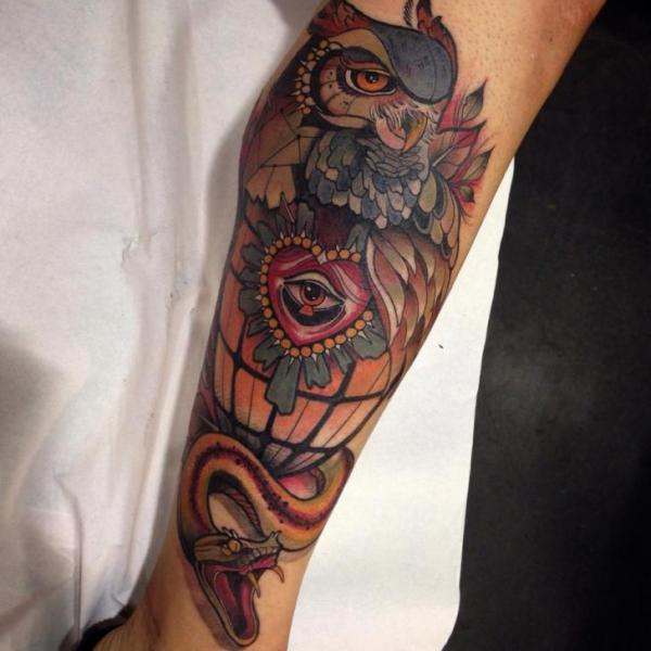 Snake Heart Leg Owl Tattoo by Blessed Tattoo