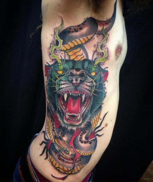 New School Snake Side Panther Tattoo by Blessed Tattoo