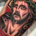 Jesus Religious Thigh tattoo by Blessed Tattoo