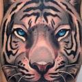Realistic Tiger Thigh tattoo by Blessed Tattoo
