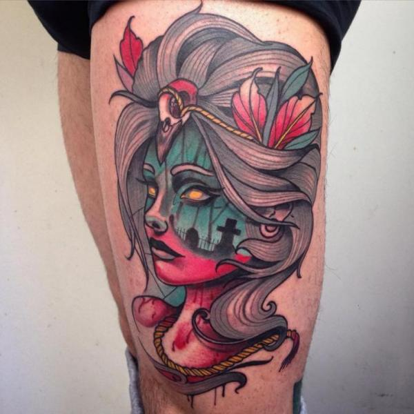 Women Thigh Tattoo by Blessed Tattoo