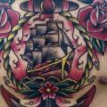Chest Old School Flower Anchor Ship tattoo by Fontecha Iron