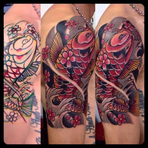 Shoulder Japanese Carp Koi Tattoo by Fontecha Iron