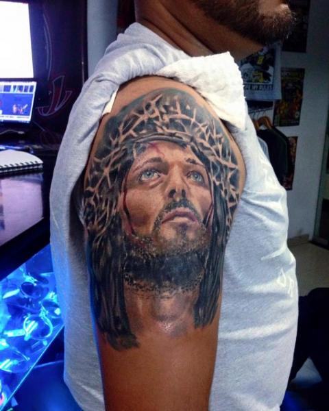 Shoulder Jesus Religious Tattoo by Fontecha Iron