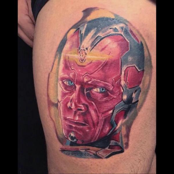 Fantasy Head Thigh Tattoo by Fontecha Iron