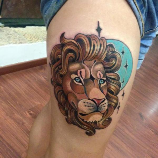 New School Lion Thigh Tattoo by Fontecha Iron
