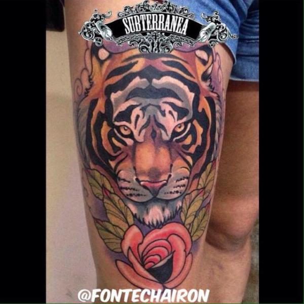 Old School Tiger Thigh Tattoo by Fontecha Iron
