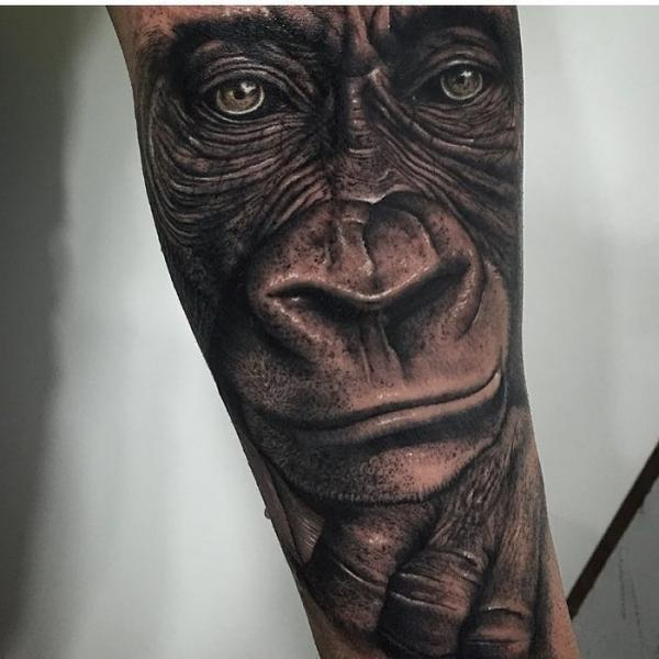 Arm Realistic Gorilla Animal Tattoo by PXA Body Art