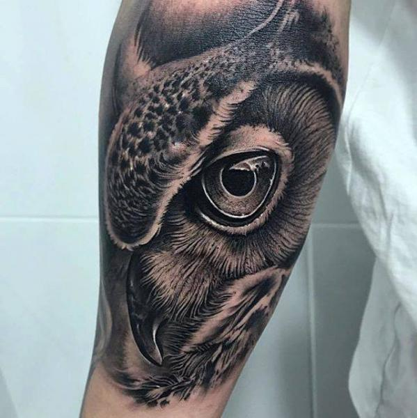 Arm Realistic Owl Animal Tattoo by PXA Body Art