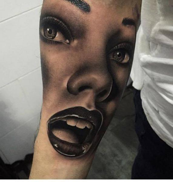Arm Realistic Woman Tattoo by PXA Body Art