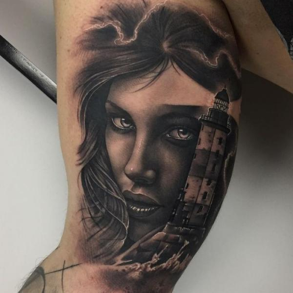 Arm Lighthouse Woman Tattoo by PXA Body Art