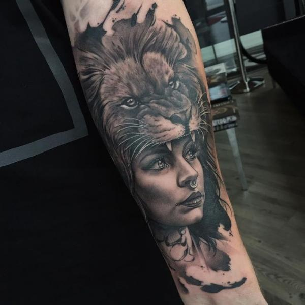 Arm Lion Woman Tattoo by PXA Body Art