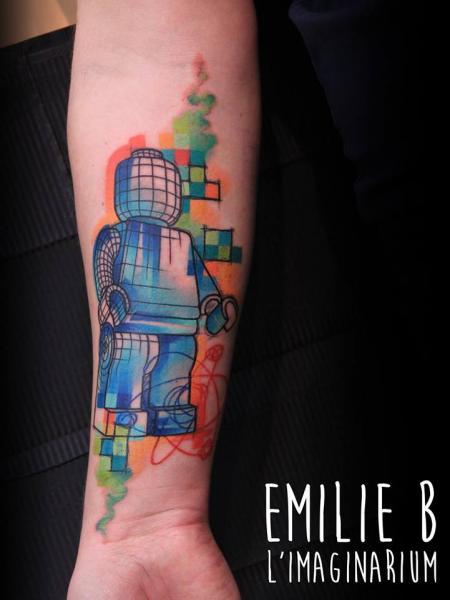 Arm Lego Water Color Tattoo by Imaginarium Tatouage
