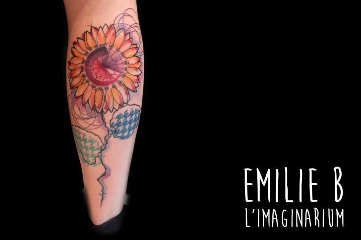 Calf Flower Water Color Tattoo by Imaginarium Tatouage