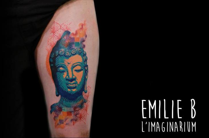 Buddha Religious Thigh Tattoo by Imaginarium Tatouage