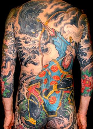 Japanese Back Samurai Tattoo by Leu Family Iron