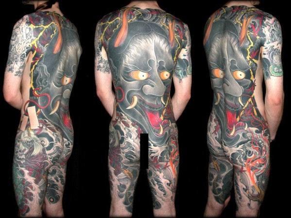 Tatuaje Pierna Japoneses Espalda Demonio por Leu Family Iron