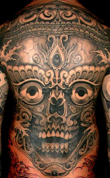 Skull Back Tattoo by Leu Family Iron