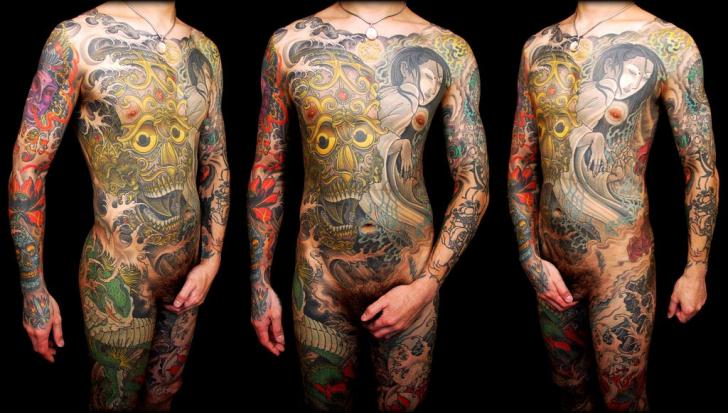 Japanese Demon Body Geisha Tattoo by Leu Family Iron