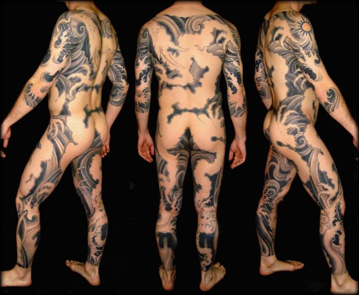 Japanese Wave Body Tattoo by Leu Family Iron