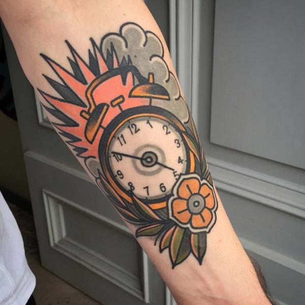Arm Clock Old School Tattoo by Sorry Mom