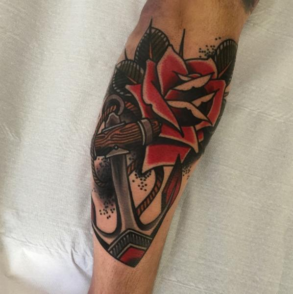 773561468 Arm Old School Flower Anchor Rose Tattoo by Sorry Mom