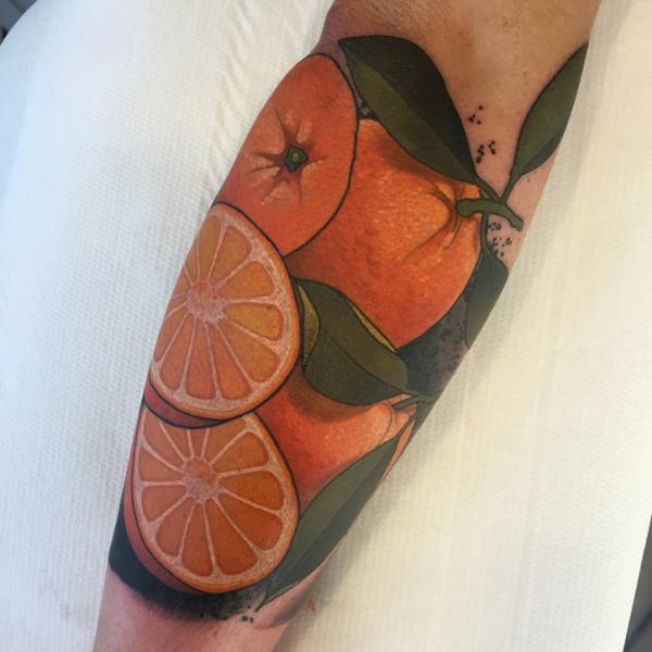Arm Realistic Orange Fruit Tattoo by Sorry Mom