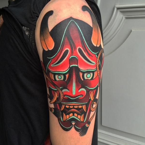 Old School Japanese Mask Demon Tattoo by Sorry Mom