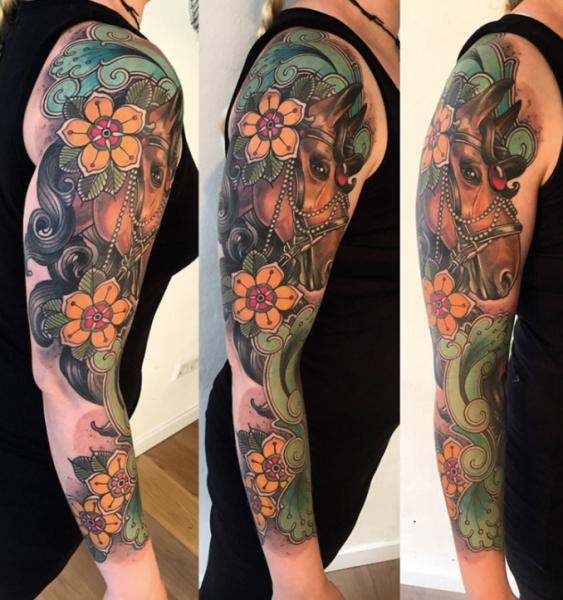 Arm New School Flower Horse Sleeve Tattoo By Sorry Mom