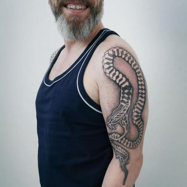 Arm Snake Dotwork Tattoo by NR Studio
