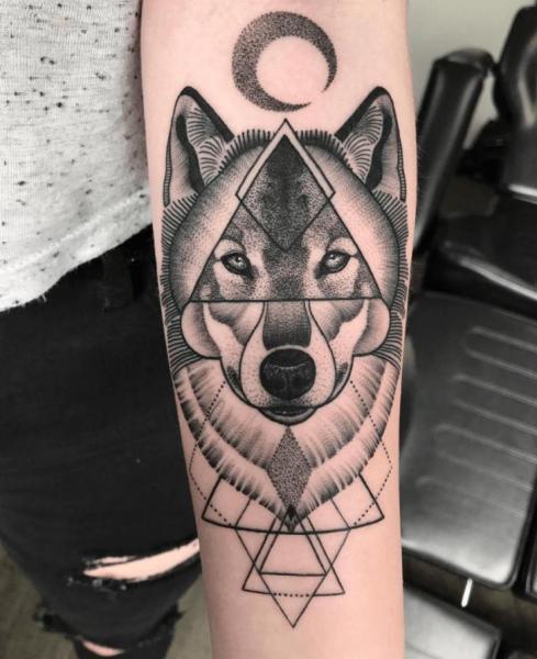 Arm Wolf Dotwork Geometric Tattoo by NR Studio