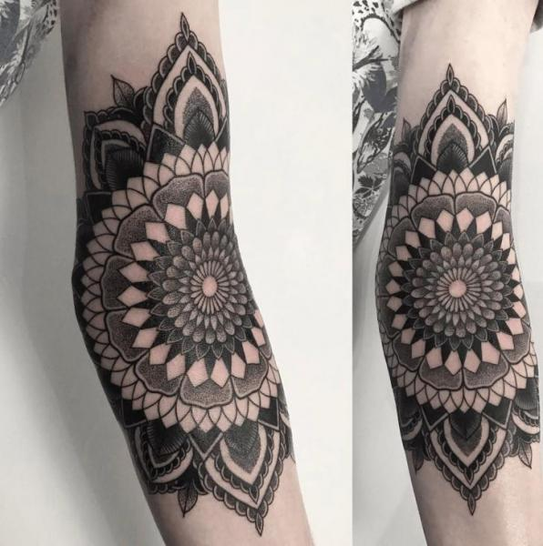 Arm Dotwork Mandala Tattoo by NR Studio