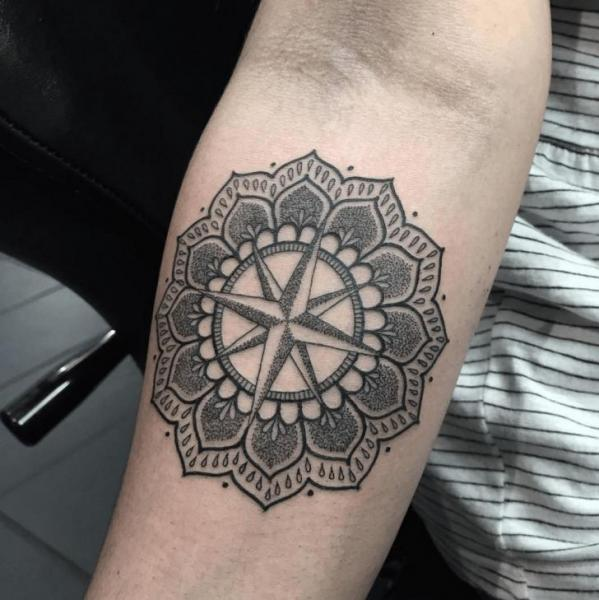 Arm Wind Rose Mandala Tattoo by NR Studio