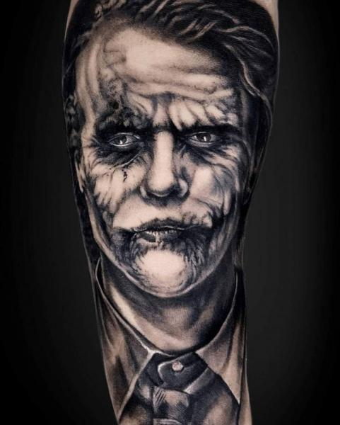 Arm Portrait Joker Tattoo by NR Studio