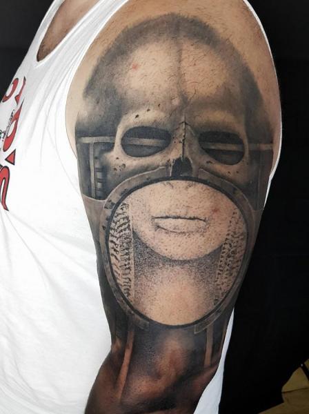 Shoulder Arm Skull Giger Tattoo by NR Studio
