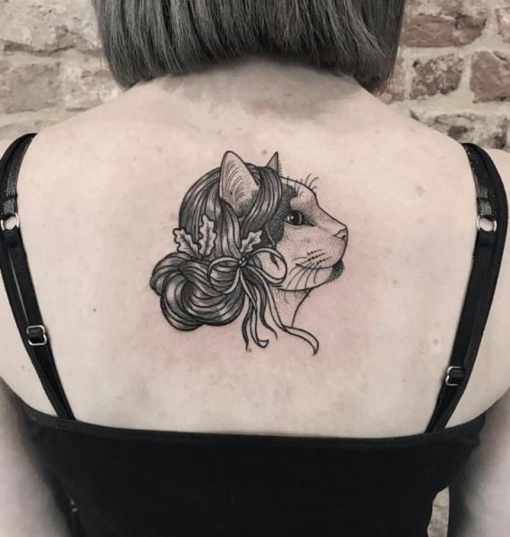 Back Cat Dotwork Tattoo by NR Studio