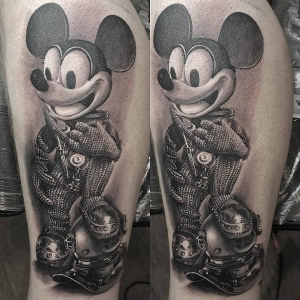 Calf Mickey Mouse Character Tattoo by NR Studio