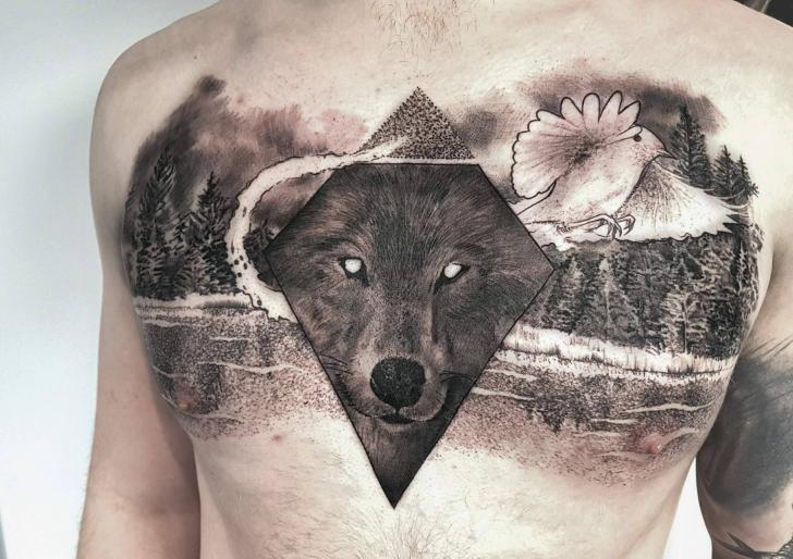 Chest Wolf Bird Tattoo by NR Studio
