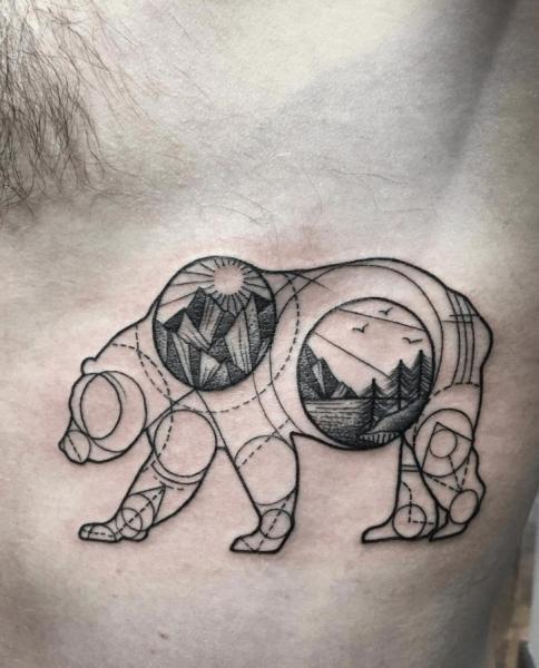 Tatuaje Oso Geométrico Por Nr Studio