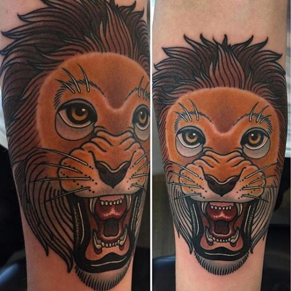 New School Lion Tattoo by NR Studio