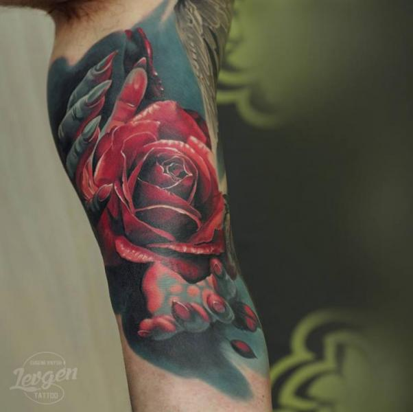 Arm Flower Hand Tattoo by Voice of Ink