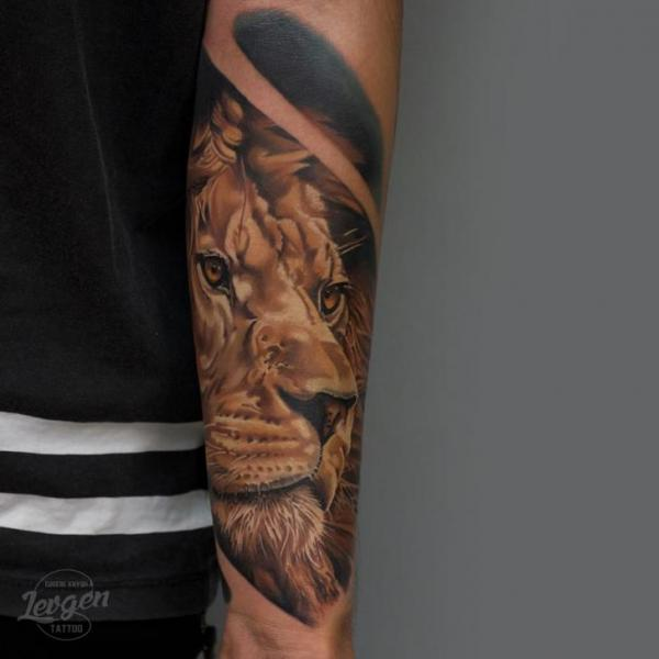 Arm Realistic Lion Tattoo by Voice of Ink