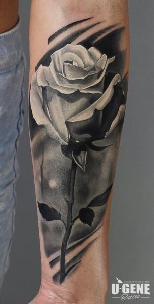 Arm Realistic Flower Rose Tattoo by Voice of Ink