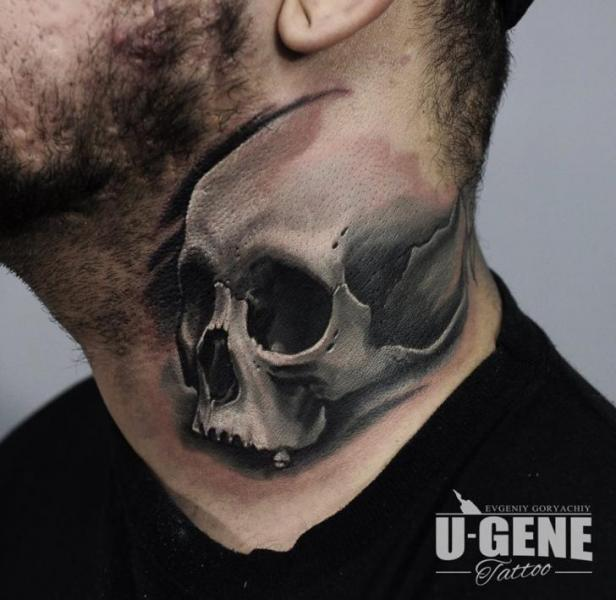 Skull Neck Tattoo by Voice of Ink