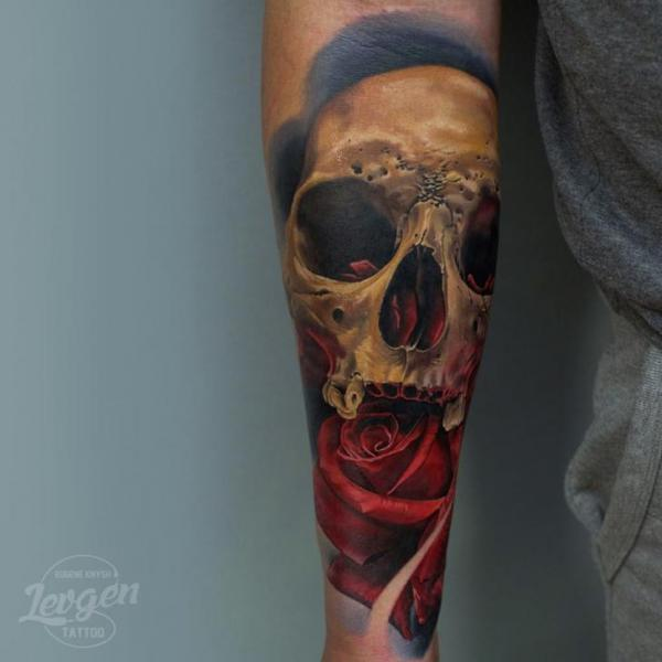 Arm Flower Skull Tattoo by Voice of Ink