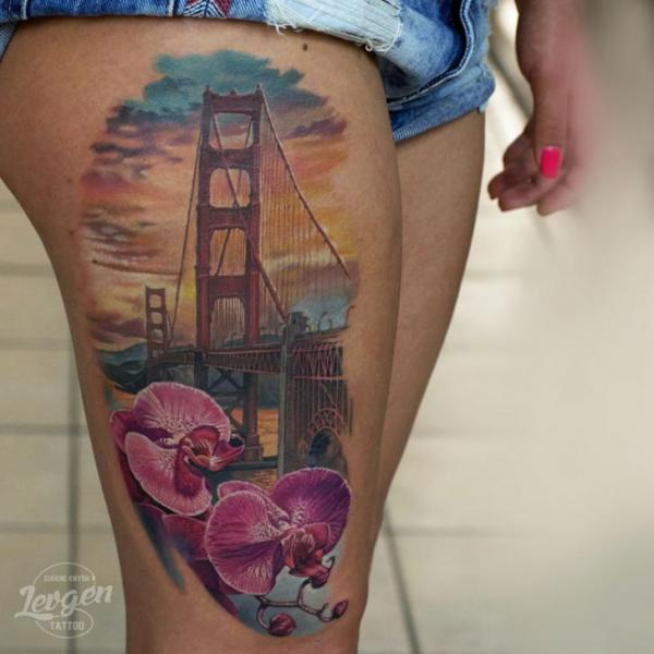Flower Bridge Thigh San Francisco Tattoo by Voice of Ink