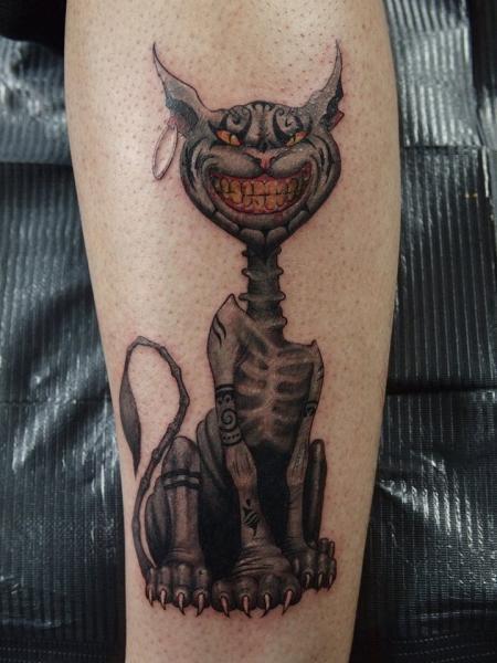 Calf Cat Character Tattoo by Art Faktors