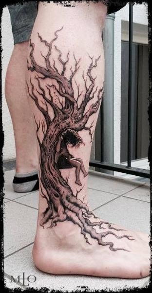 Tatuaje Ternero Pierna Árbol por Art Faktors