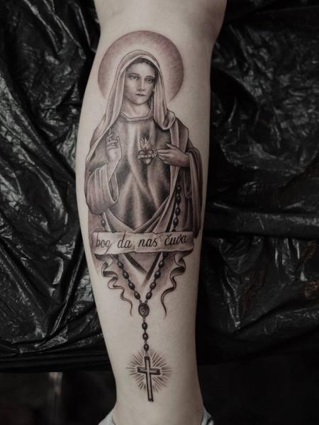 Leg Religious Madonna Tattoo by Art Faktors